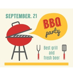 Bbq party barbecue and grill cooking flat design vector