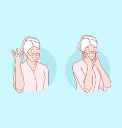 Beauty skincare eye patches set concept vector