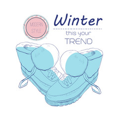Boots shoes for winter poster retro style design vector