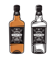 Bottle of whiskey two styles vector
