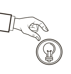 Bulb hand great idea solution sketch design vector