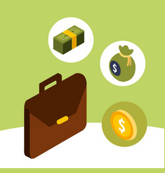business briefcase coin banknote and bag money vector image