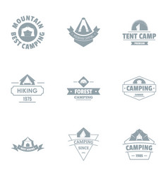 Camping tent logo set simple style vector