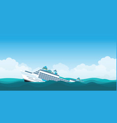 capsized cruise ship vector image