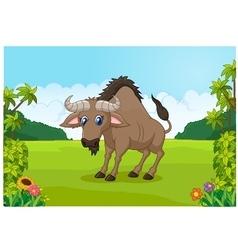 Cartoon animal wildebeest in the jungle vector