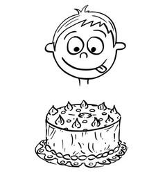 Cartoon of boy looking at birthday cake vector