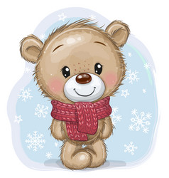 Cartoon teddy bear in a knitted scarf on a blue vector