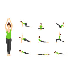 cartoon woman in green top yoga poses icons set vector image