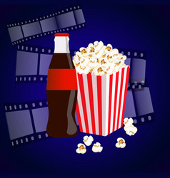 Cinema background with popcorn box film strip vector