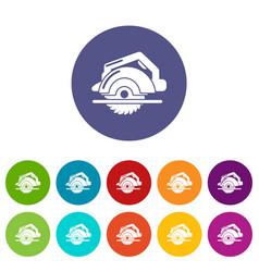 circular saw icons set color vector image