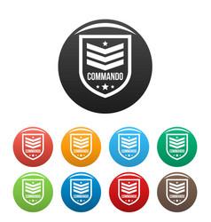 Commando badge icons set color vector