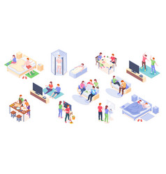 couple daily life isometric home time together vector image