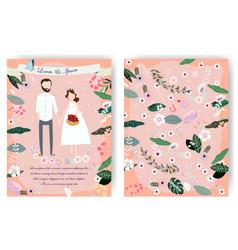Cute cartoon bride and groom wedding card vector