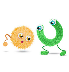 cute realistic hair fur monsters isolated on white vector image