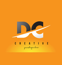 Dc d c letter modern logo design with yellow vector