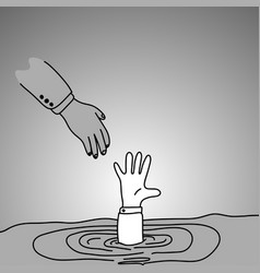 Drowning businessman getting hand of another man vector
