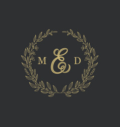elegant floral logo wedding logo design vector image