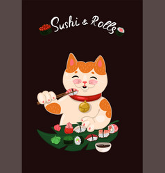 Emblem for sushi bar cat eats sushi and vector