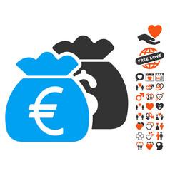 euro money bags icon with valentine bonus vector image