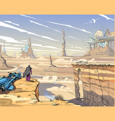 Fantastic city desert concept art vector