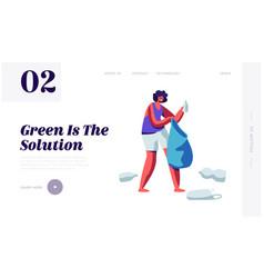 female character picking up plastic trash litter vector image