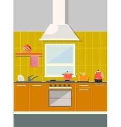 flat kitchen vector image