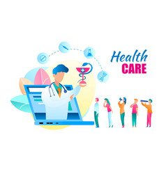 Flat online health care doctor consultation vector