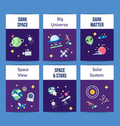 flat space icons card or flyer template vector image