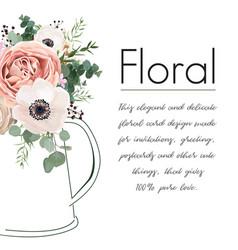 Floral elegant card design peach rose flower vector