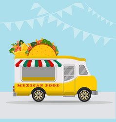 food truck logotype for mexican food meal fast vector image