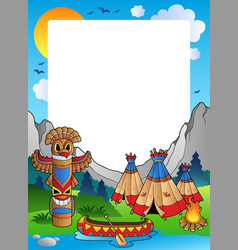 Frame with indian village vector