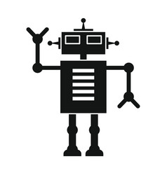 Funny robot in black flat silhouette style vector