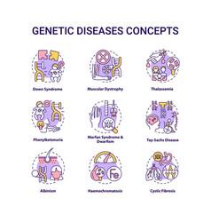 Genetic disease concept icons set vector