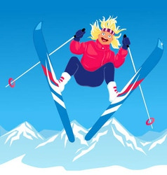 Girl ski jumping vector image