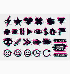 Glitch icons set interface navigation elements vector