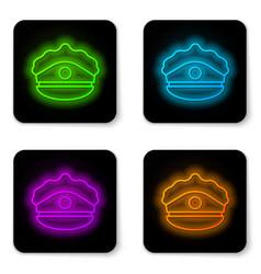 Glowing neon line police cap with cockade icon vector