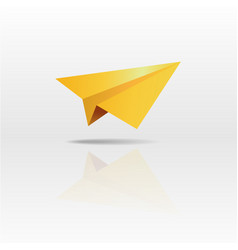 gold paper plane on white background vector image