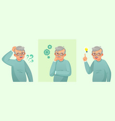 grandfather thinking elderly man solved question vector image