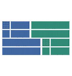 Green and bleu cargo container mockup vector