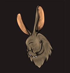 hand drawn rabbit head with big vector image