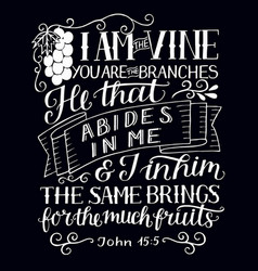 Hand lettering with bible verse i am the vine you vector