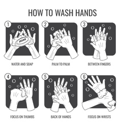 Hand washing instruction clean hands hygiene vector