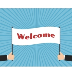Hands of businessman holding welcome sign vector