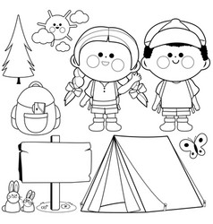 happy children in a camping site vector image
