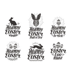 happy easter label set egg rabbit bunny symbol vector image