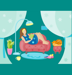 Happy young woman is relaxing on comfortable chair vector