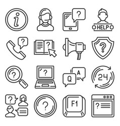 help and online support center icons set vector image