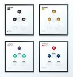 Hexagon infographic 2 color set vector image