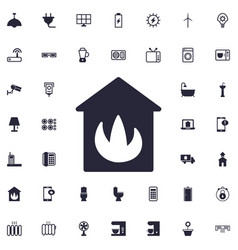 House in fire icon vector