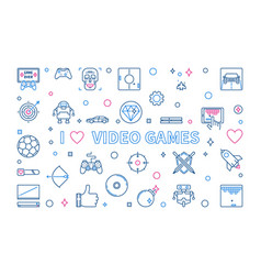 i love video games outline banner concept vector image